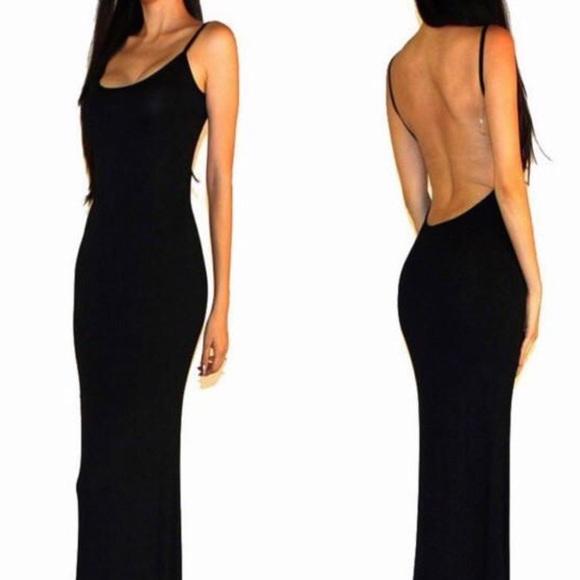 Backless Black Maxi Dress